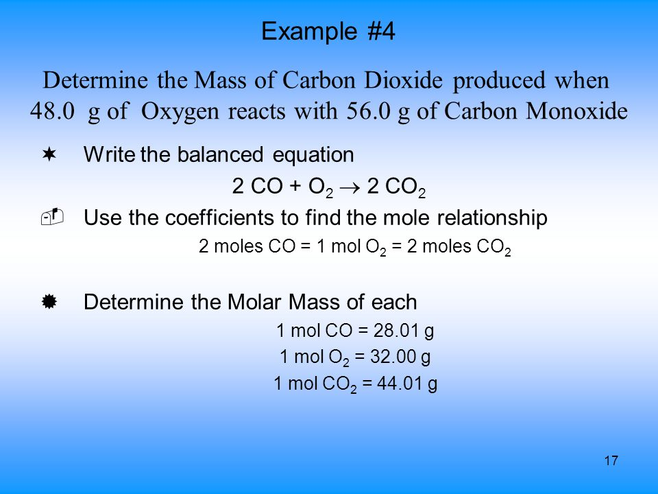 Determine the Mass of Carbon Dioxide produced when