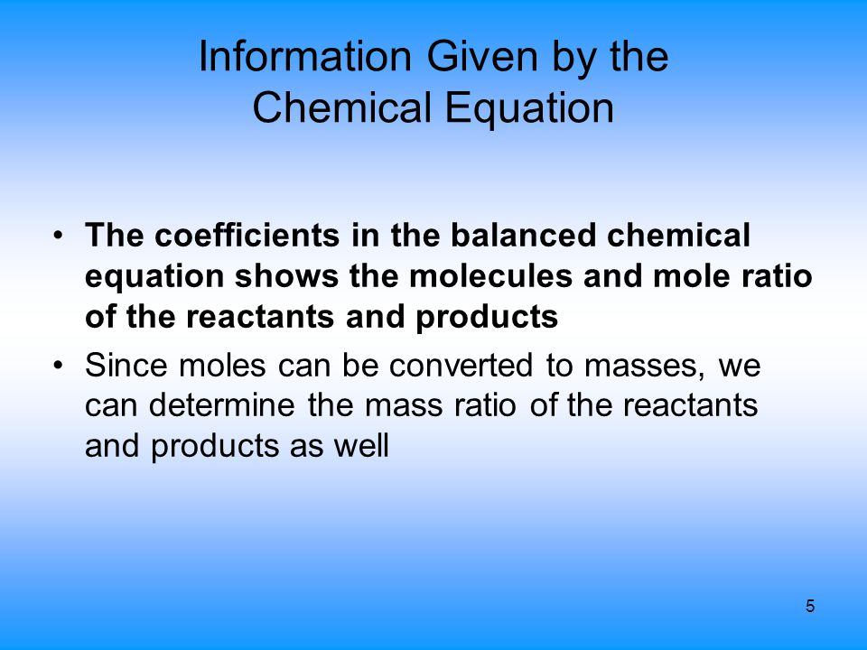 Information Given by the Chemical Equation