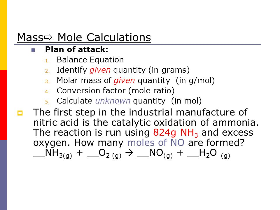 Mass Mole Calculations