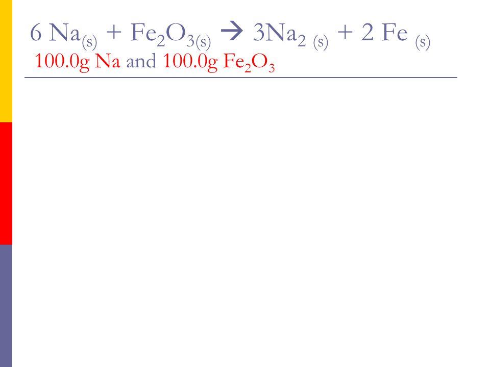 6 Na(s) + Fe2O3(s)  3Na2 (s) + 2 Fe (s) 100.0g Na and 100.0g Fe2O3