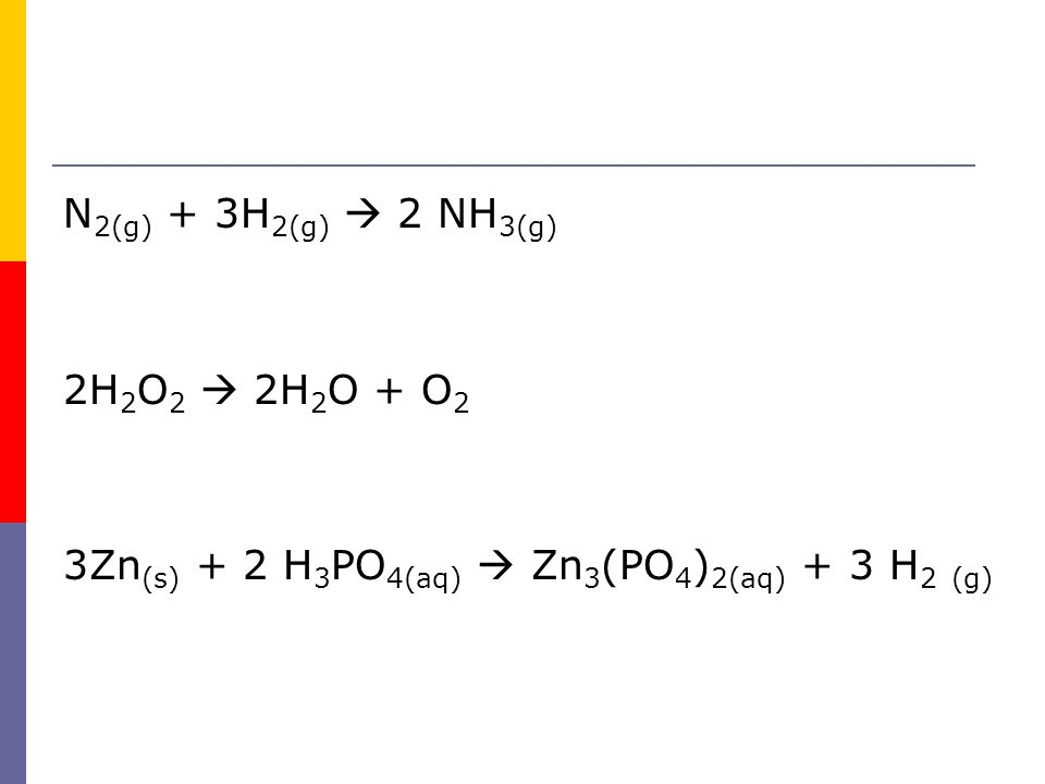 N2(g) + 3H2(g)  2 NH3(g) 2H2O2  2H2O + O2 3Zn(s) + 2 H3PO4(aq)  Zn3(PO4)2(aq) + 3 H2 (g)