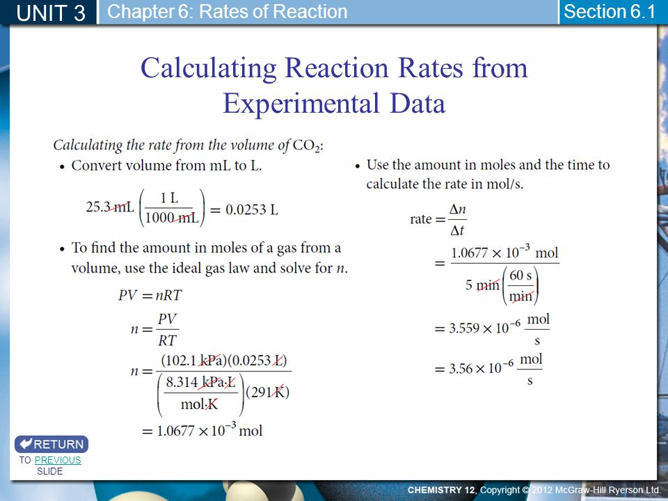 Calculating Reaction Rates from Experimental Data
