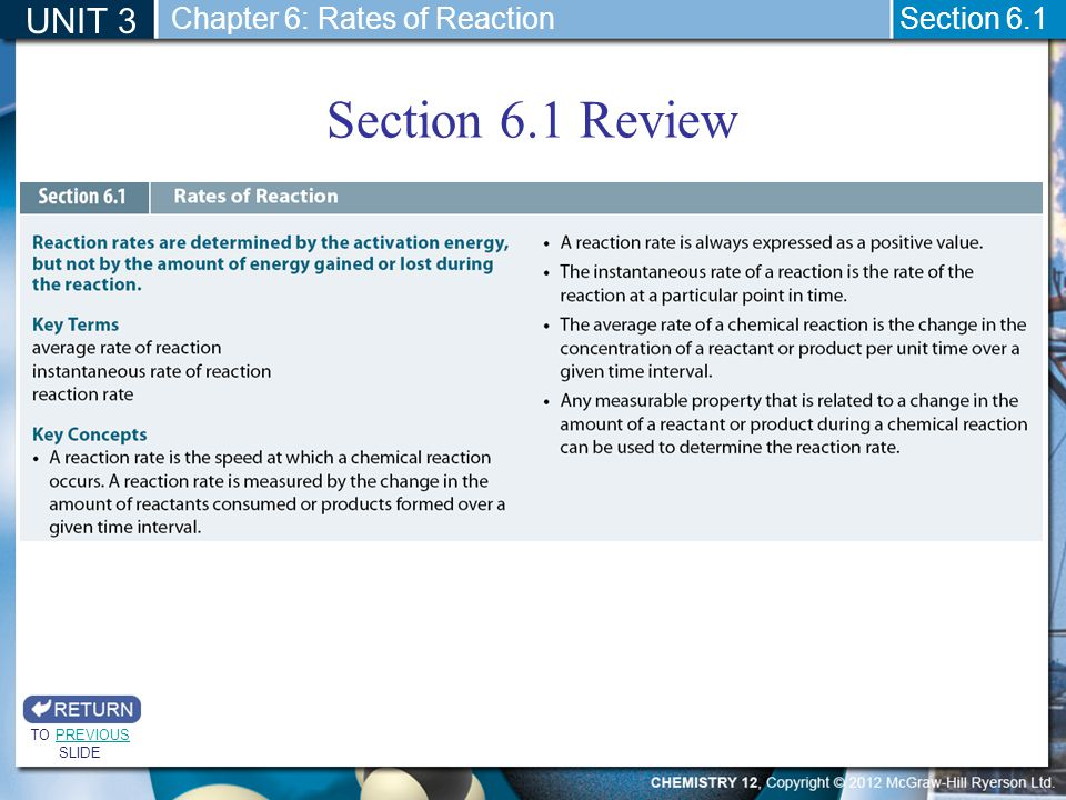Section 6.1 Review UNIT 3 Chapter 6: Rates of Reaction Section 6.1