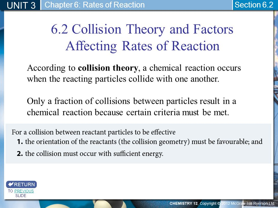 6.2 Collision Theory and Factors Affecting Rates of Reaction