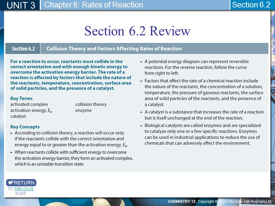 Section 6.2 Review UNIT 3 Chapter 6: Rates of Reaction Section 6.2