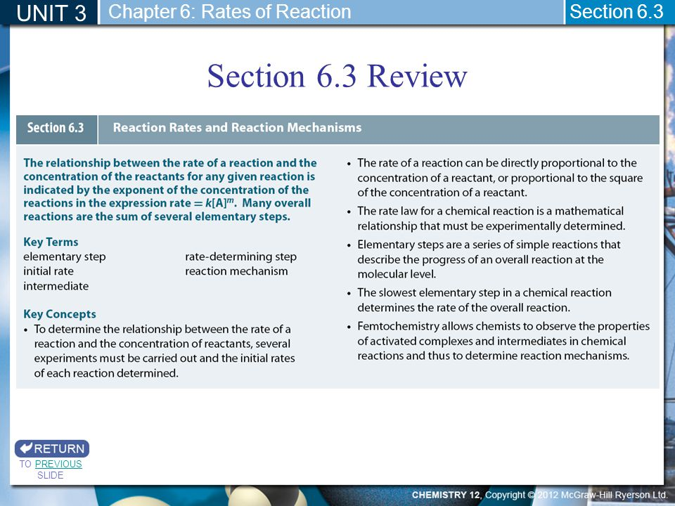 Section 6.3 Review UNIT 3 Chapter 6: Rates of Reaction Section 6.3