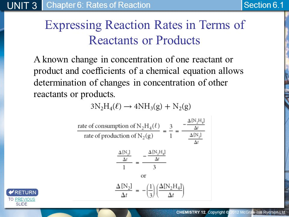 Expressing Reaction Rates in Terms of Reactants or Products
