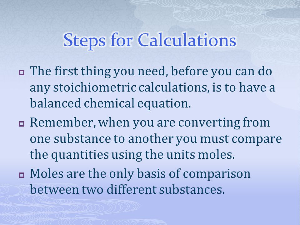Steps for Calculations