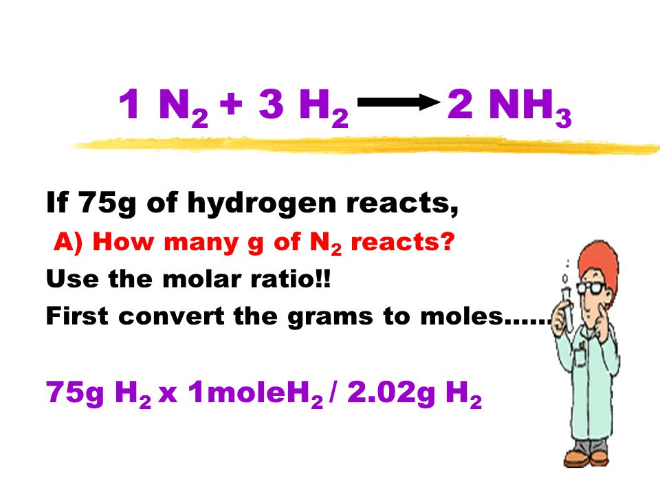1 N2 + 3 H2 2 NH3 If 75g of hydrogen reacts,