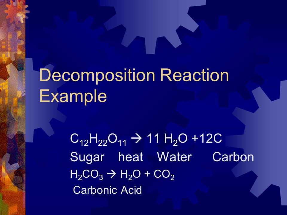 Decomposition Reaction Example
