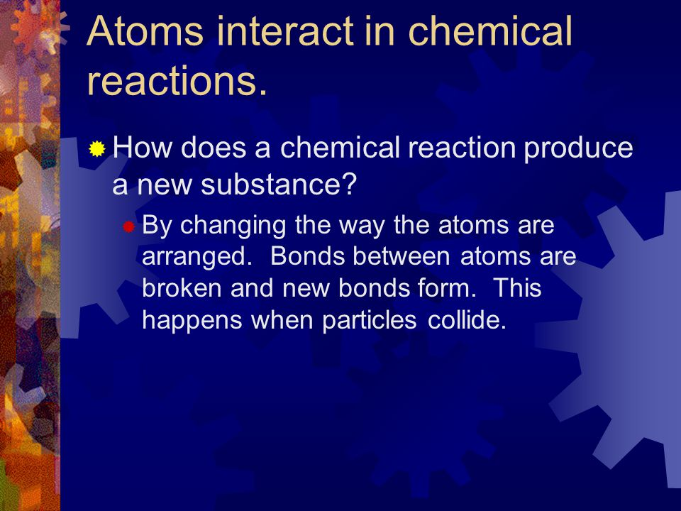 Atoms interact in chemical reactions.