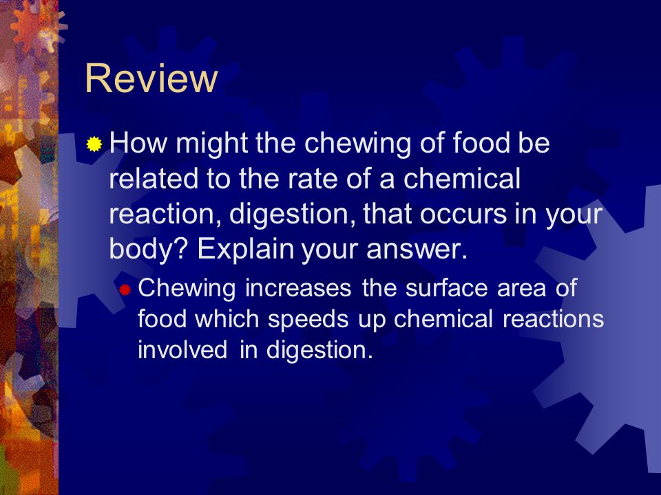 Review How might the chewing of food be related to the rate of a chemical reaction, digestion, that occurs in your body Explain your answer.