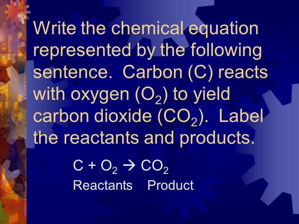 C + O2  CO2 Reactants Product
