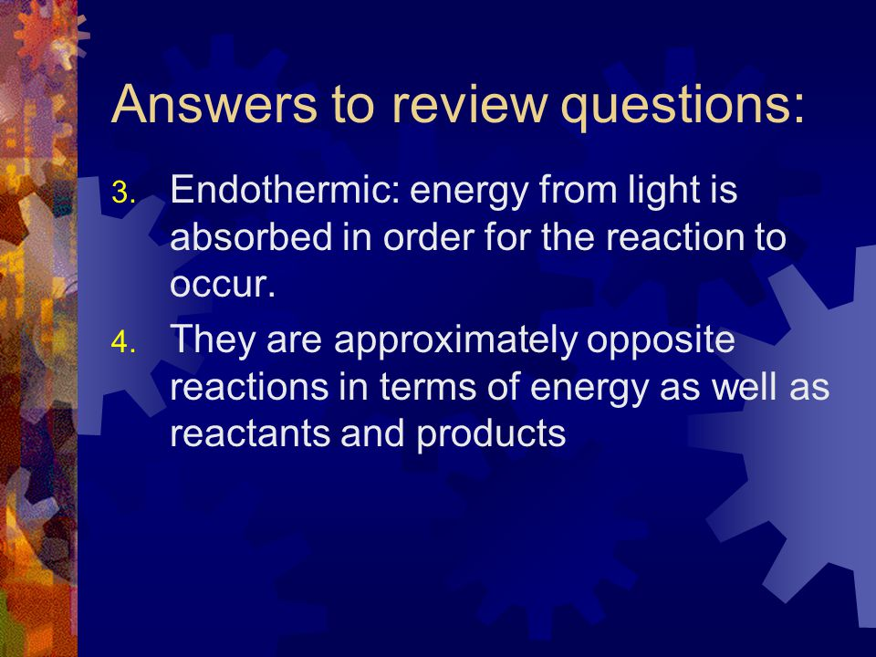 Answers to review questions: