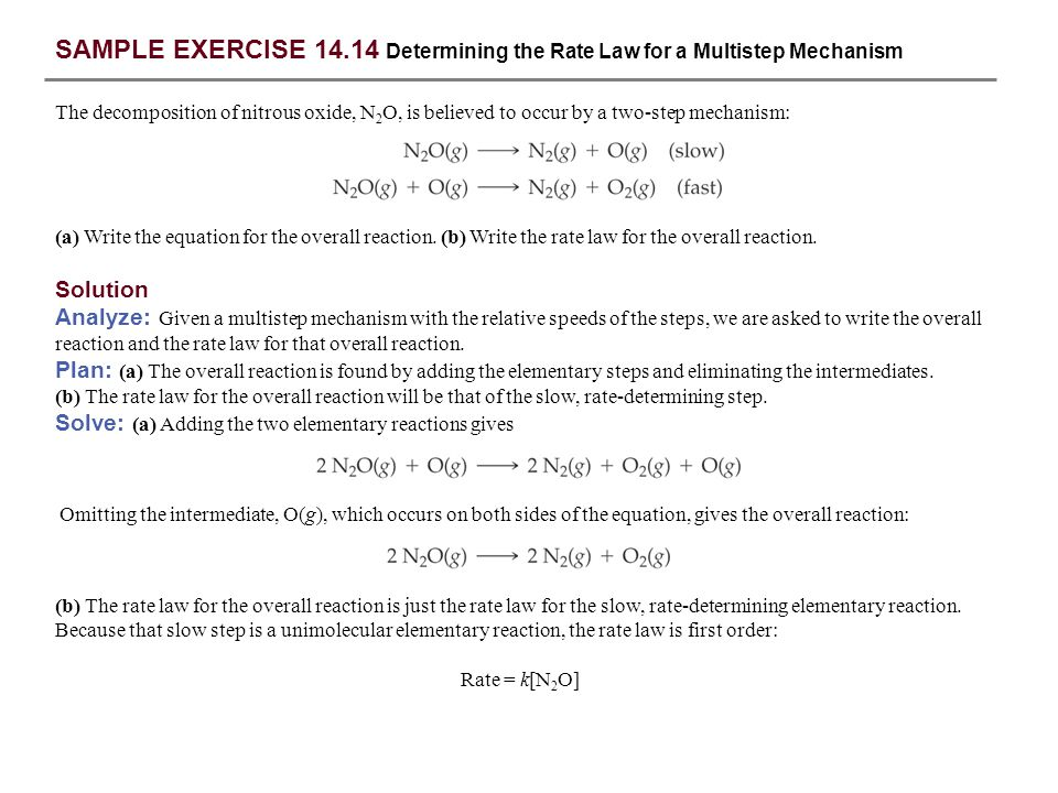 SAMPLE EXERCISE 14.14 Determining the Rate Law for a Multistep Mechanism