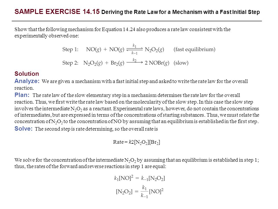 SAMPLE EXERCISE 14.15 Deriving the Rate Law for a Mechanism with a Fast Initial Step