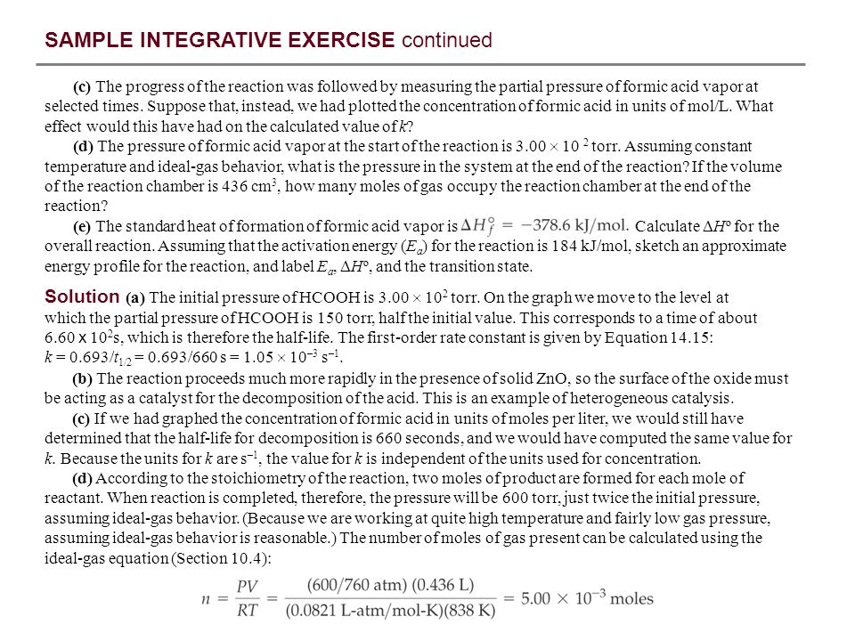 SAMPLE INTEGRATIVE EXERCISE continued