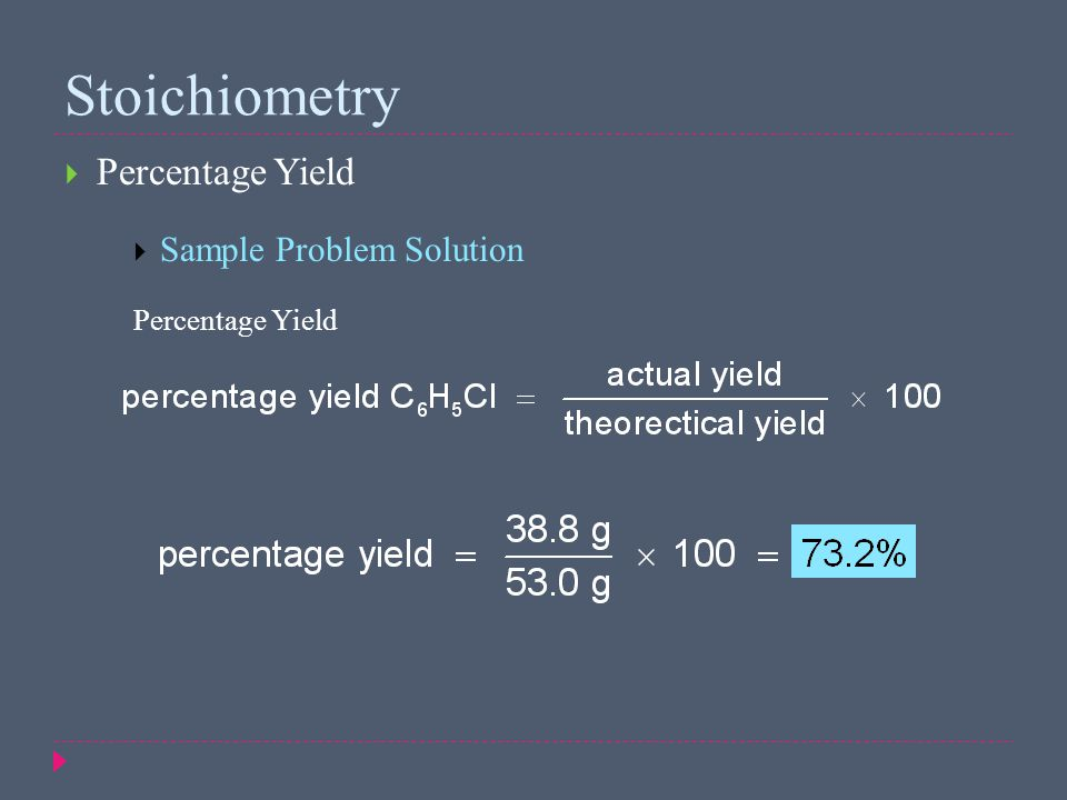 Stoichiometry Percentage Yield Sample Problem Solution
