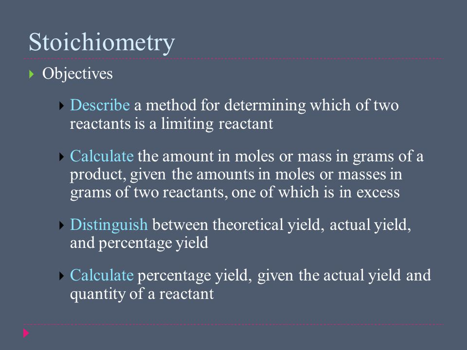 Stoichiometry Objectives