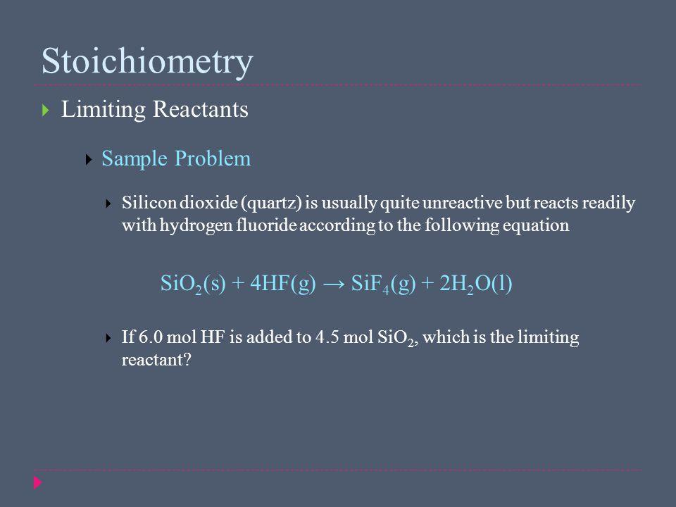 Stoichiometry Limiting Reactants Sample Problem