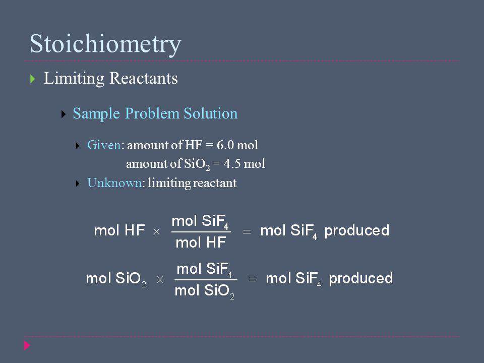 Stoichiometry Limiting Reactants Sample Problem Solution
