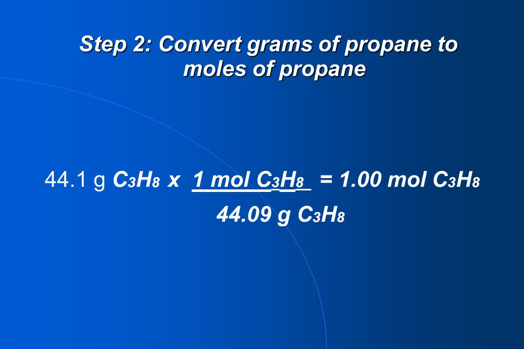 Step 2: Convert grams of propane to moles of propane