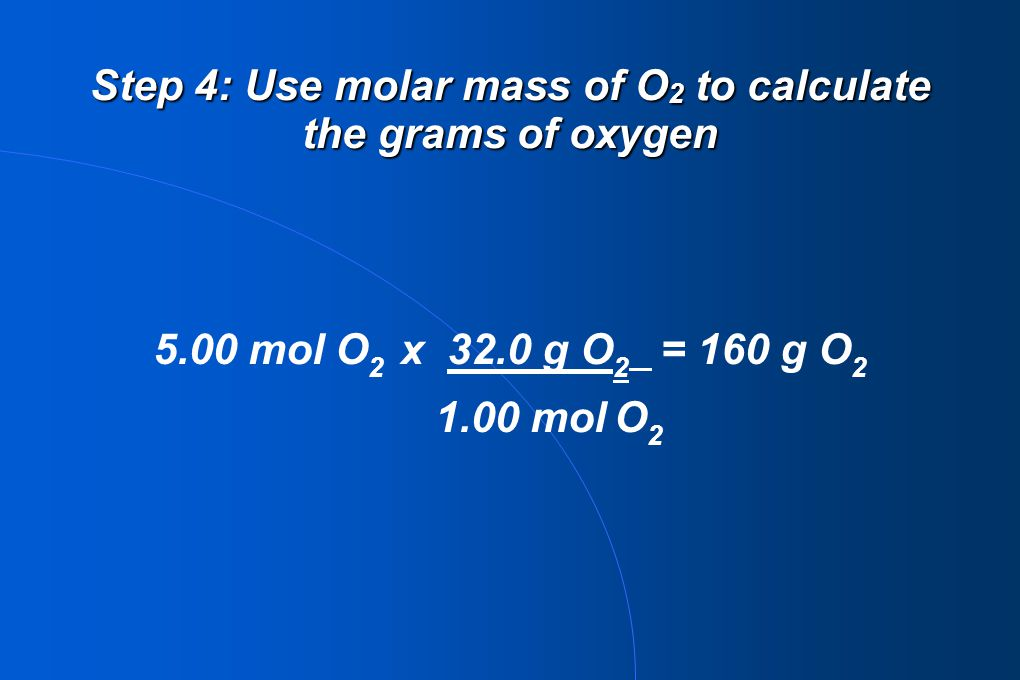 Step 4: Use molar mass of O2 to calculate the grams of oxygen