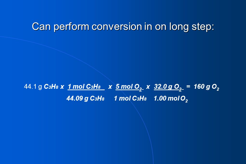 Can perform conversion in on long step: