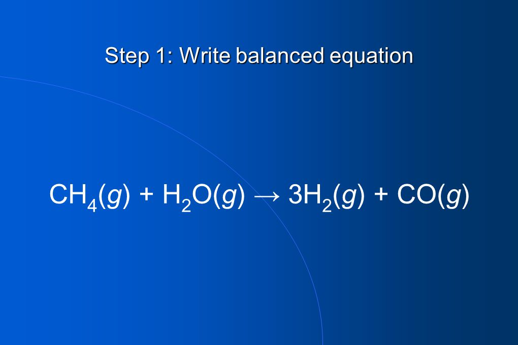 Step 1: Write balanced equation