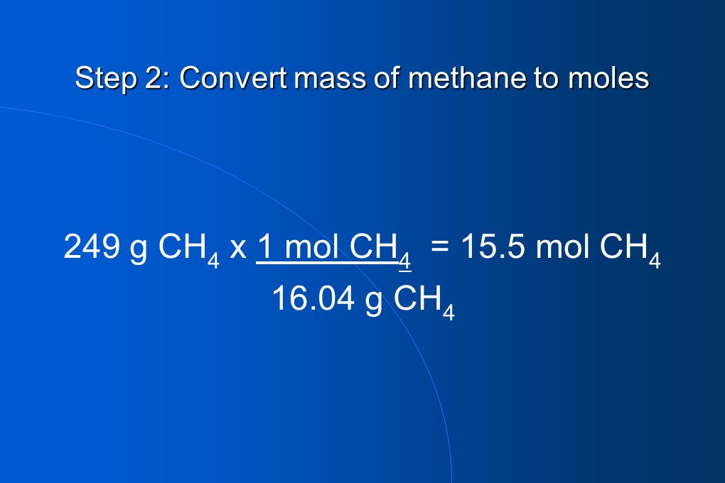 Step 2: Convert mass of methane to moles