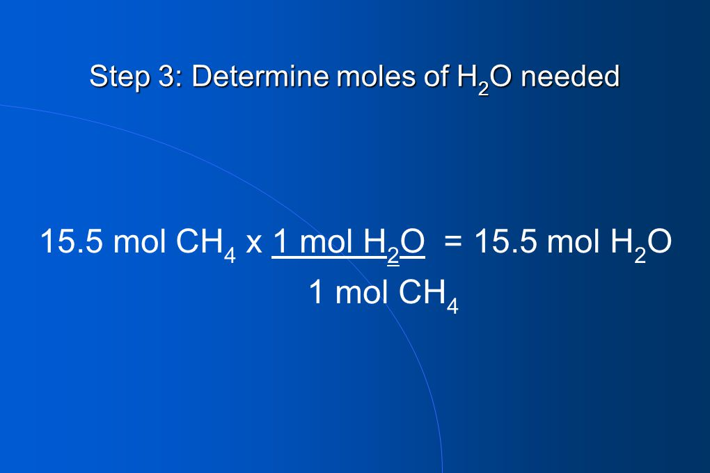 Step 3: Determine moles of H2O needed