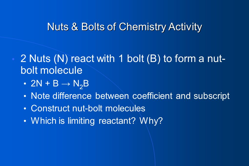 Nuts & Bolts of Chemistry Activity