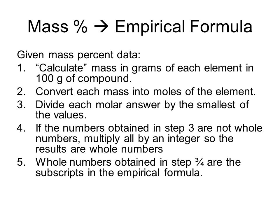 Mass %  Empirical Formula