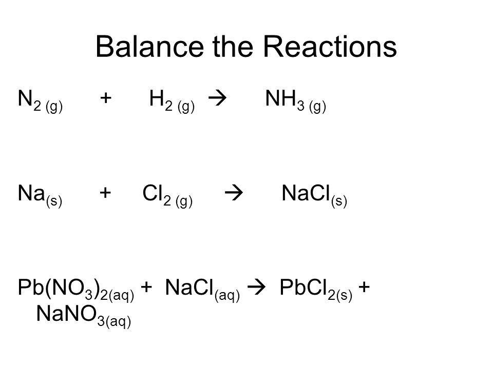 Balance the Reactions N2 (g) + H2 (g)  NH3 (g)