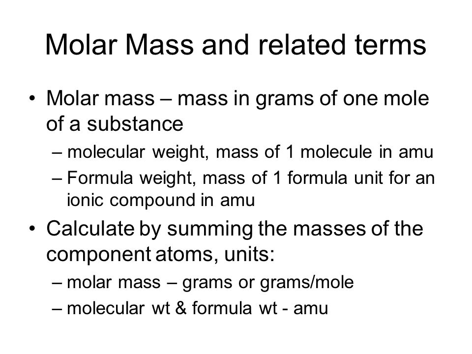 Molar Mass and related terms