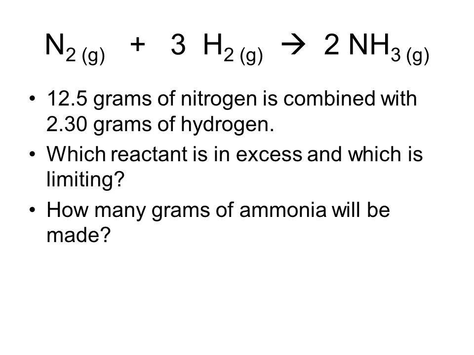 N2 (g) + 3 H2 (g)  2 NH3 (g) 12.5 grams of nitrogen is combined with 2.30 grams of hydrogen.