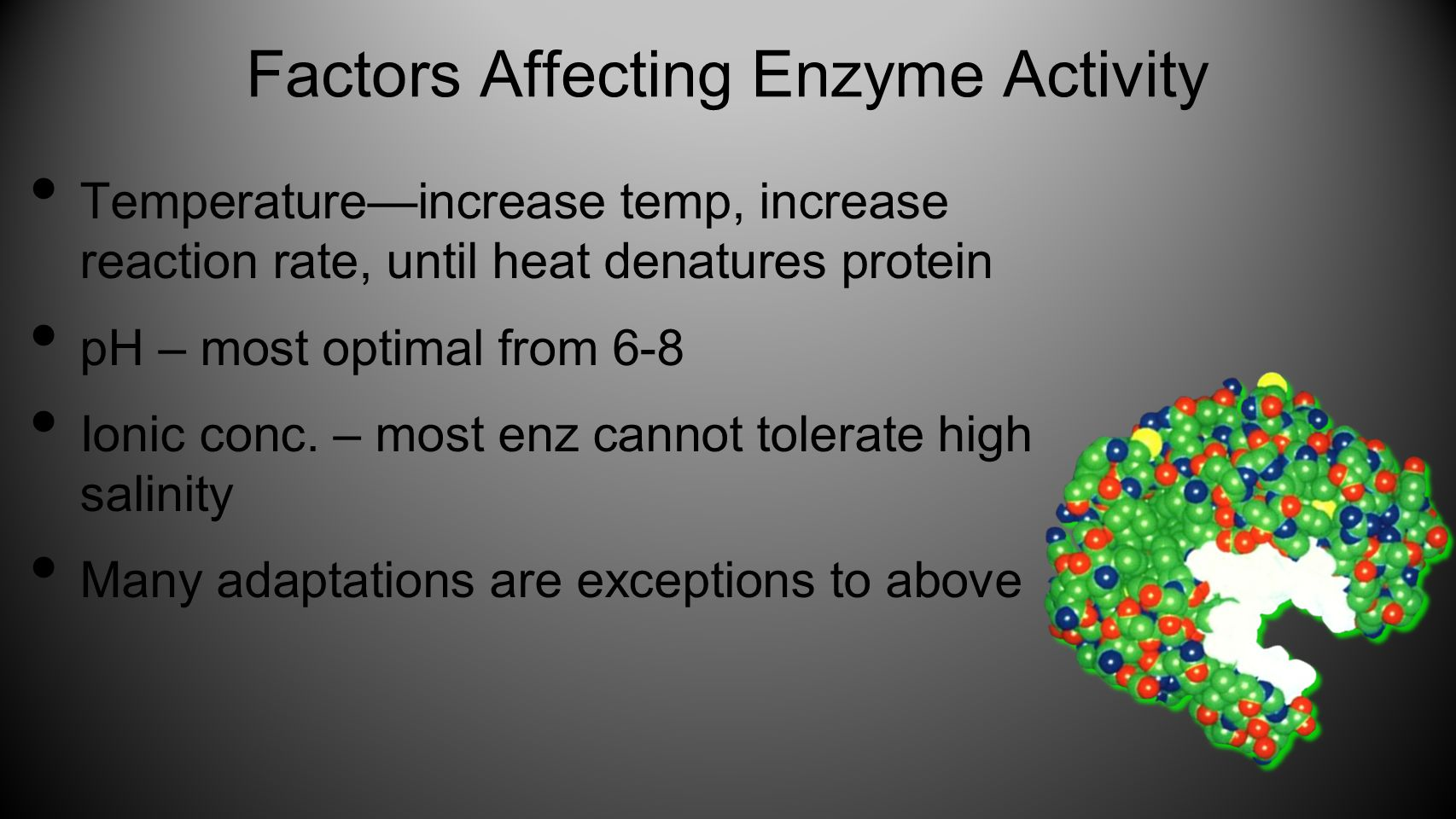 Factors Affecting Enzyme Activity