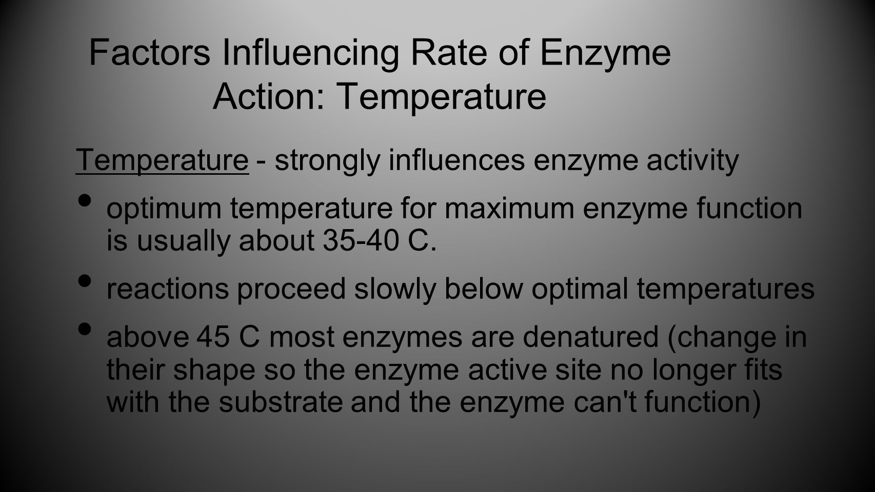 Factors Influencing Rate of Enzyme Action: Temperature