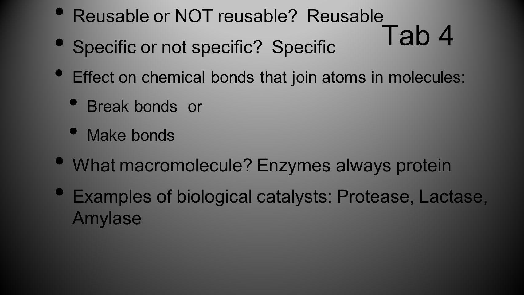 Tab 4 Reusable or NOT reusable Reusable