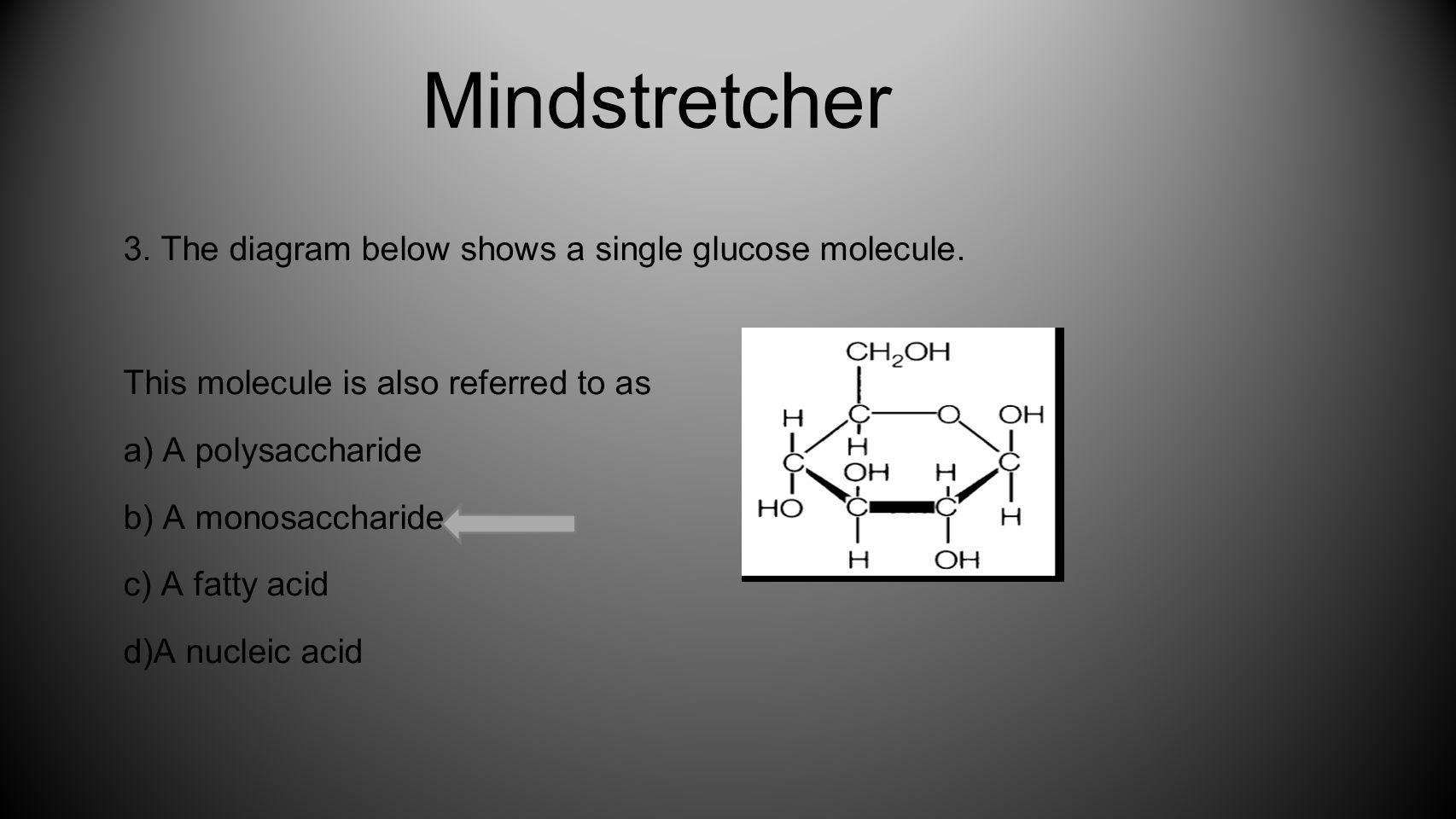 Mindstretcher 3. The diagram below shows a single glucose molecule.