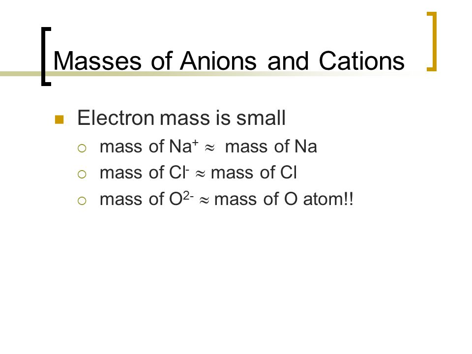 Masses of Anions and Cations