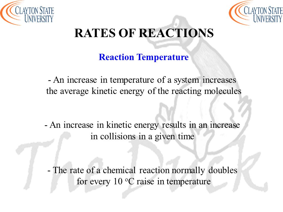 RATES OF REACTIONS Reaction Temperature