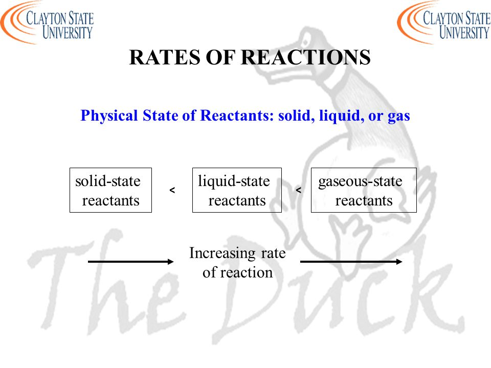 Physical State of Reactants: solid, liquid, or gas