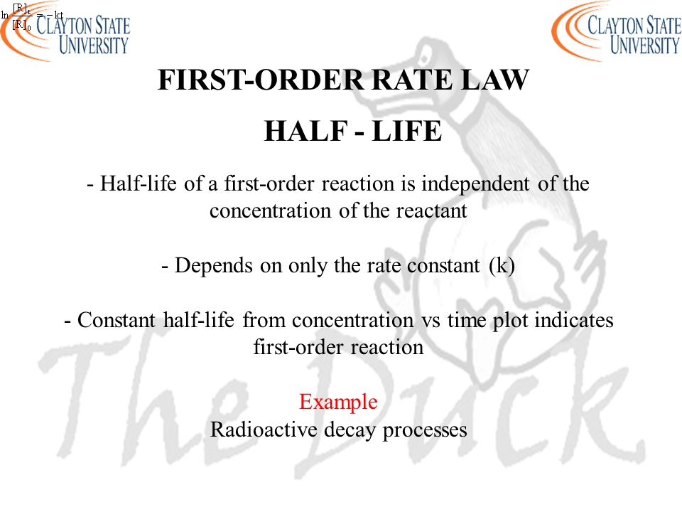 FIRST-ORDER RATE LAW HALF - LIFE