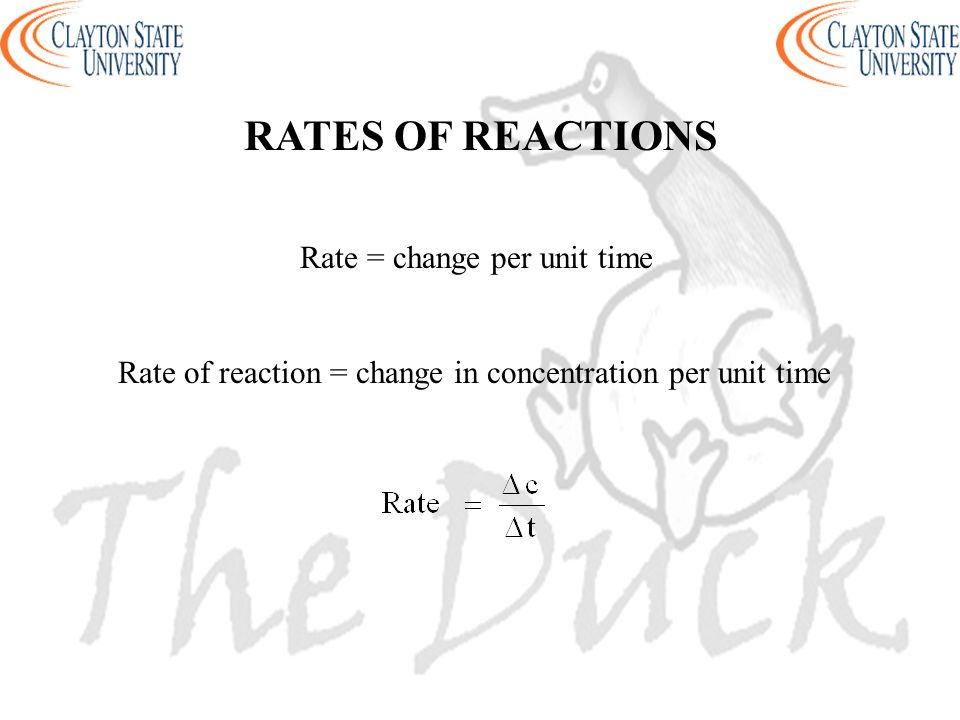 RATES OF REACTIONS Rate = change per unit time.