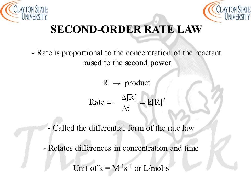 SECOND-ORDER RATE LAW - Rate is proportional to the concentration of the reactant raised to the second power.
