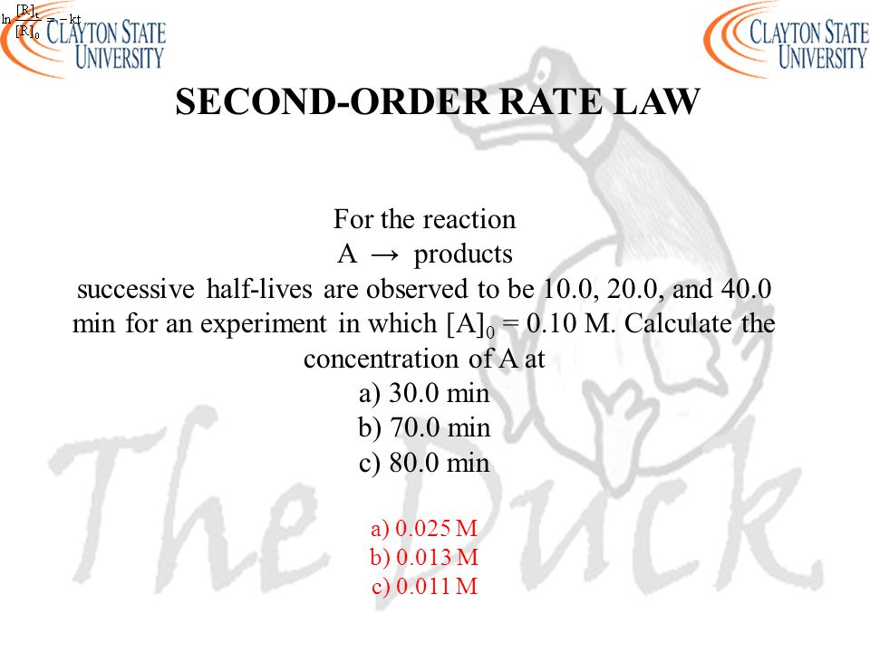 SECOND-ORDER RATE LAW For the reaction A → products