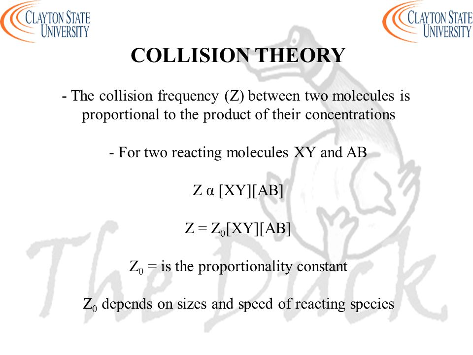 COLLISION THEORY - The collision frequency (Z) between two molecules is. proportional to the product of their concentrations.