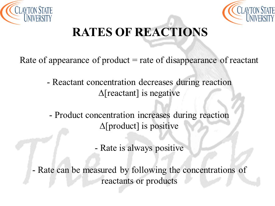 RATES OF REACTIONS Rate of appearance of product = rate of disappearance of reactant. - Reactant concentration decreases during reaction.