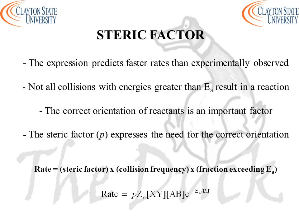 STERIC FACTOR - The expression predicts faster rates than experimentally observed.